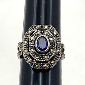 Jewelry - Art Deco Blue Sapphire Ring Marcasite Sterling Sil